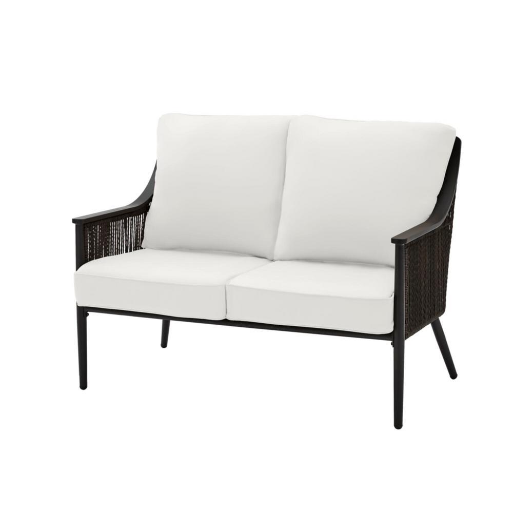 Bayhurst Black Wicker Outdoor Patio Loveseat with CushionGuard Chalk White Cushions