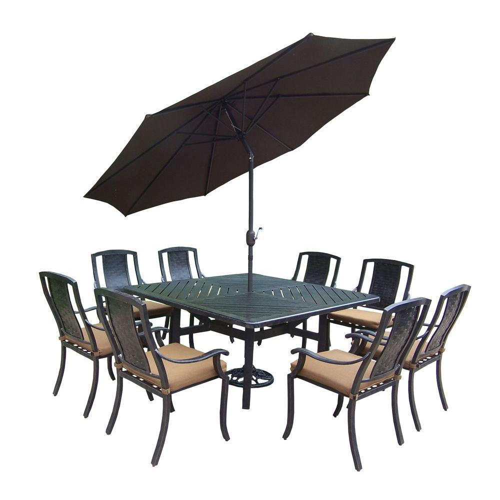 11-Piece Square Aluminum Patio Dining Set with Sunbrella Canvas Teak Cushions
