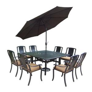 Click here to buy  11-Piece Square Aluminum Patio Dining Set with Sunbrella Canvas Teak Cushions and....