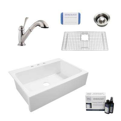Josephine All-in-One Quick-Fit Farmhouse Fireclay 33.85 in. 3-Hole Single Bowl Kitchen Sink with Faucet and Drain