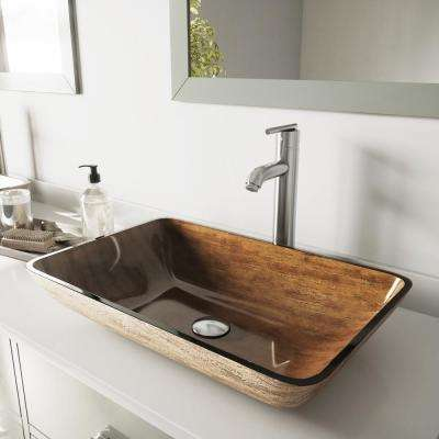 Rectangular Glass Vessel Bathroom Sink in Amber Sunset with Faucet Set in Brushed Nickel