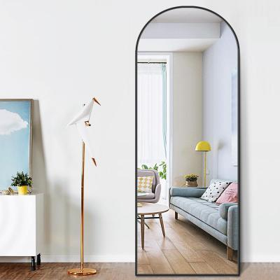 65 in. x 22 in. Modern Arched Shape Framed Black Standing Mirror Full Length Floor Mirror