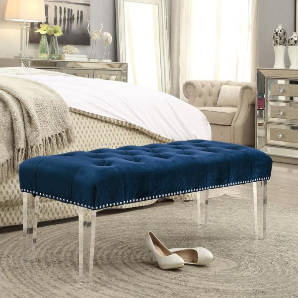 Inspired Home Willow Navy/Silver Velvet Ottoman Bench with Button Tufted