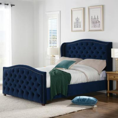 Marcella Navy Blue Queen Upholstered Bed