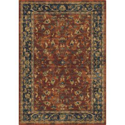 Floral Trail Traditional Red 8 ft. x 11 ft. Area Rug