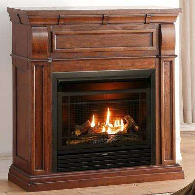 42 in. Ventless Dual Fuel Gas Fireplace in Chestnut Oak with Thermostat