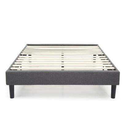 Claridge Grey Queen Upholstered Metal Platform Bed and Frame with Wood Slat Supports