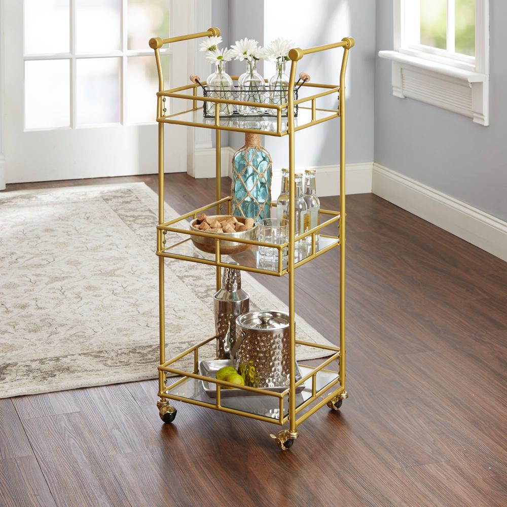Collier 3-Tier Gold Bar Cart