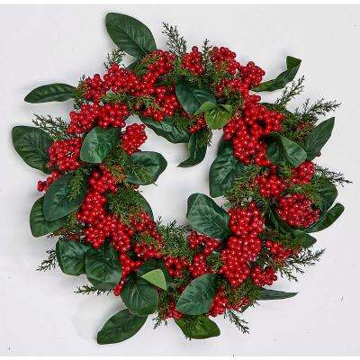 17 in. Berry Leaf Wreath on Natural Twig Base