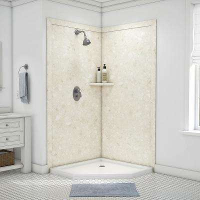 Splendor 40 in. x 40 in. x 80 in. 7-Piece Easy Up Adhesive Corner Shower Wall Surround in Calabria