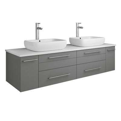 Lucera 60 in. W Wall Hung Bath Vanity in Gray with Quartz Stone Vanity Top in White with White Basins