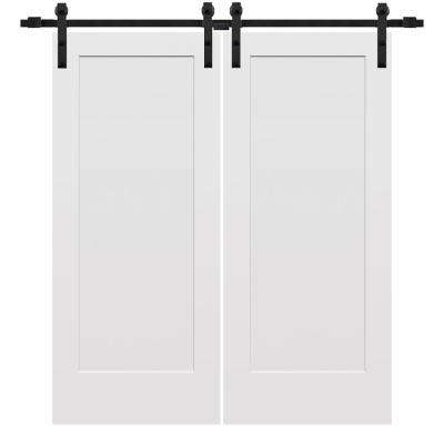 72 in. x 80 in. Smooth Madison Primed Composite Double Barn Door with Matte Black Sliding Door Hardware Kit