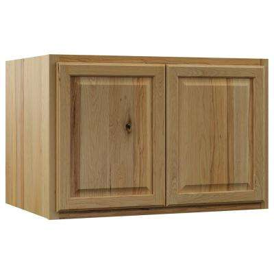 Hampton Assembled 36x24x24 in. Above Refrigerator Deep Wall Bridge Kitchen Cabinet in Natural Hickory