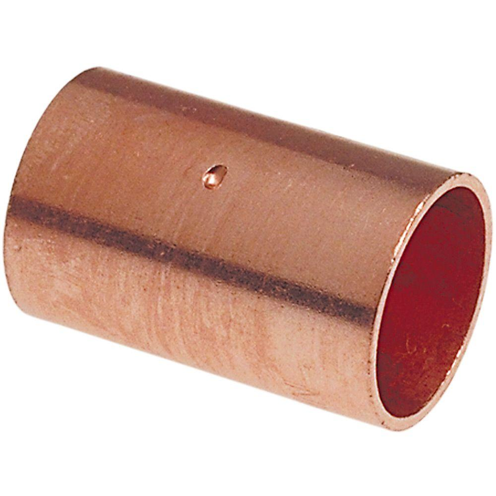 Everbilt 1/2 in. Copper Pressure Cup x Cup Coupling Fitting with Stop