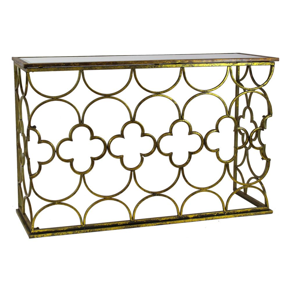 Beau Myra Gold Metal Console Table