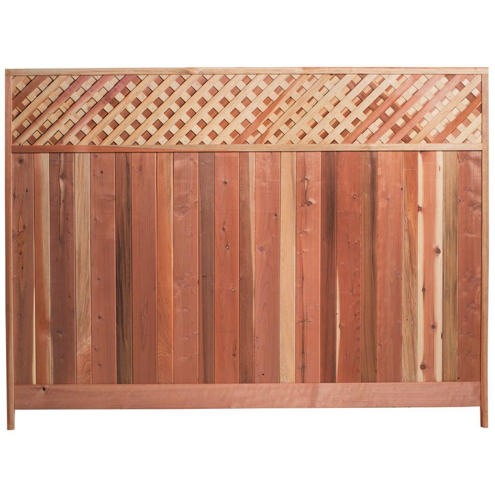 Redwood Fence W Redwood Lattice Top Fence Panel