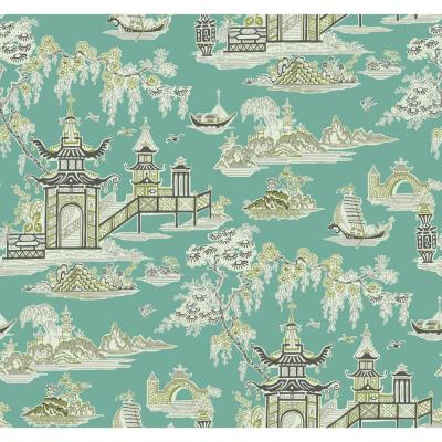 Peaceful Temple Removable Wallpaper Teal Paper Strippable Roll (Covers 60.75 sq. ft.)
