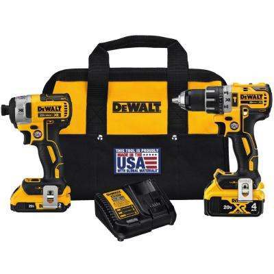 20-Volt MAX XR Lithium-Ion Cordless Brushless Drill/Impact Combo Kit (2-Tool) with (1) Battery 2Ah and (1) Battery 4Ah