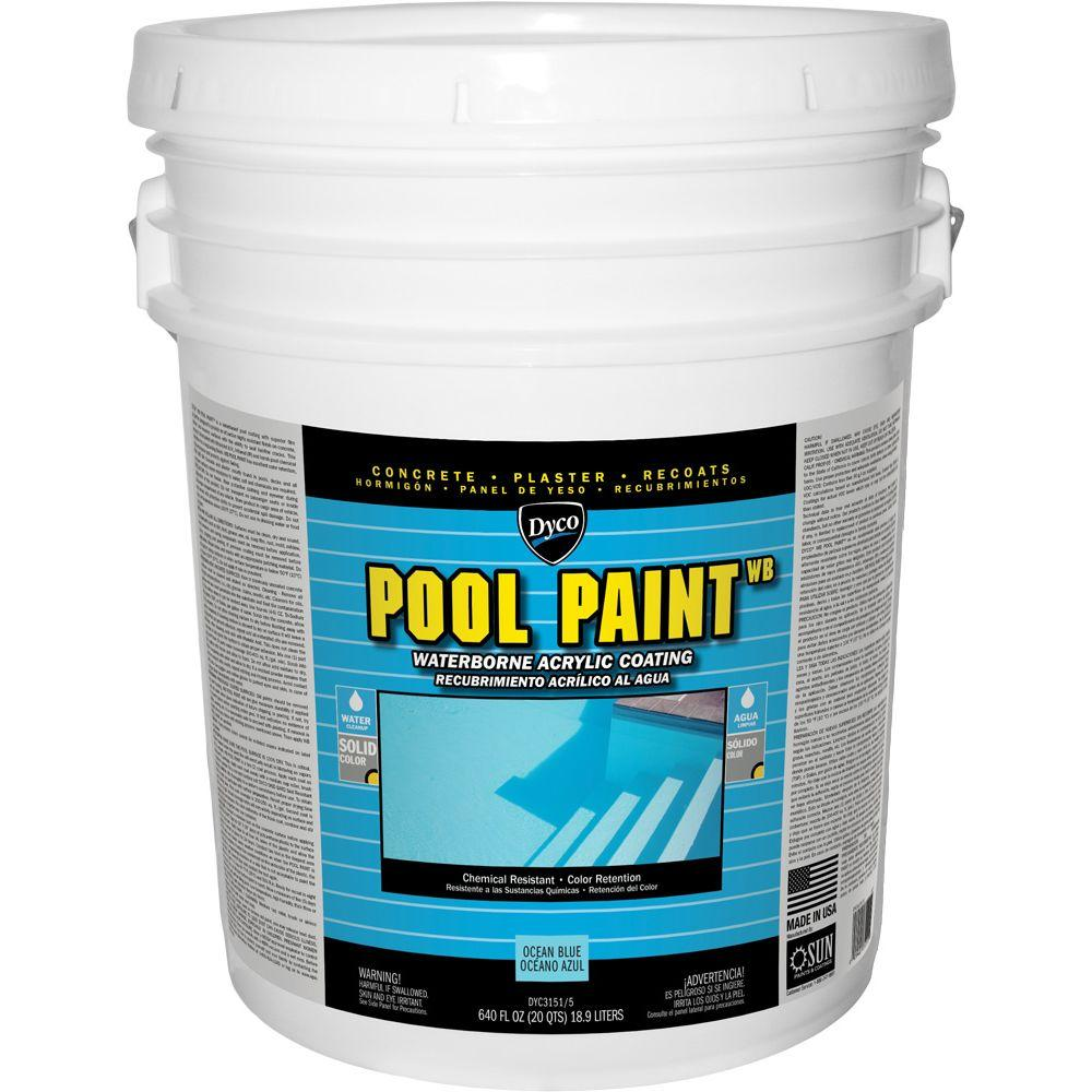 Exterior Paint Coverage Per Gallon: Dyco Pool Paint 5 Gal. 3151 Ocean Blue Semi-Gloss Acrylic