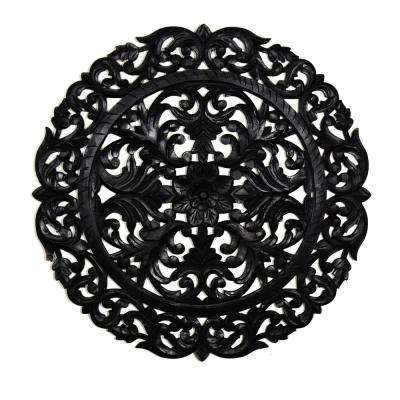 Leroy Black Round Wooden Medallion