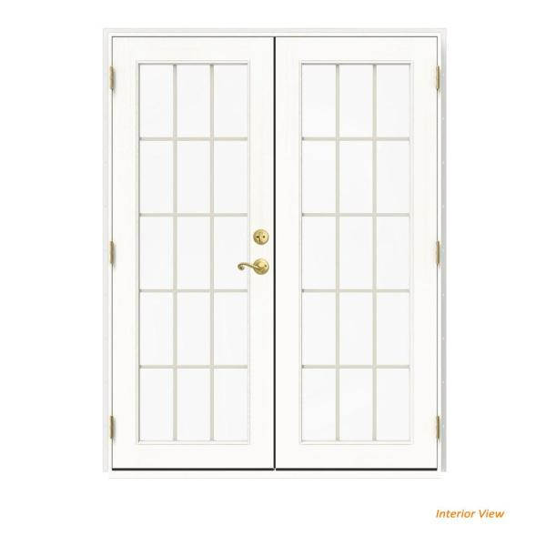 60 in. x 80 in. W-2500 White Clad Wood Right-Hand 15 Lite French Patio Door w/White Paint Interior