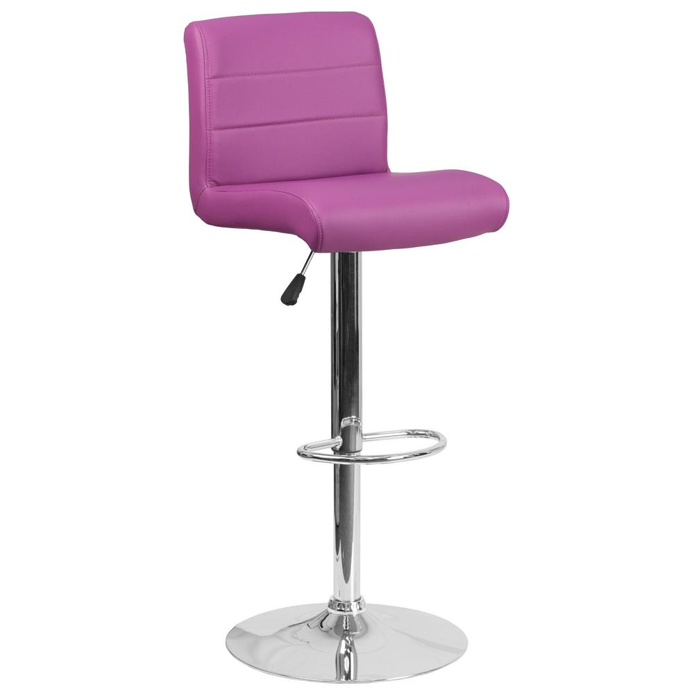 Flash Furniture Adjustable Height Purple Cushioned Bar