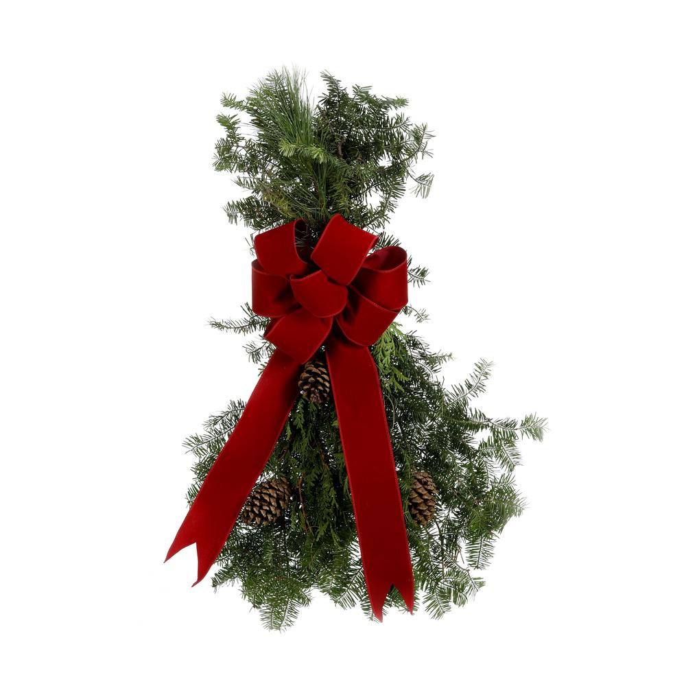 ProvenWinners Proven Winners 2.5 ft. Live Swag, Fresh Cut Mixed Greens, Classic Red Bow and Natural Pinecones, Wreath Alternative