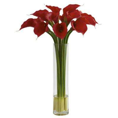 Red Calla Lily with Large Cylinder Vase