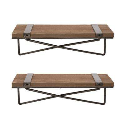 Rustic Farmhouse Metal Wooden Wall Shelf (Set of 2)