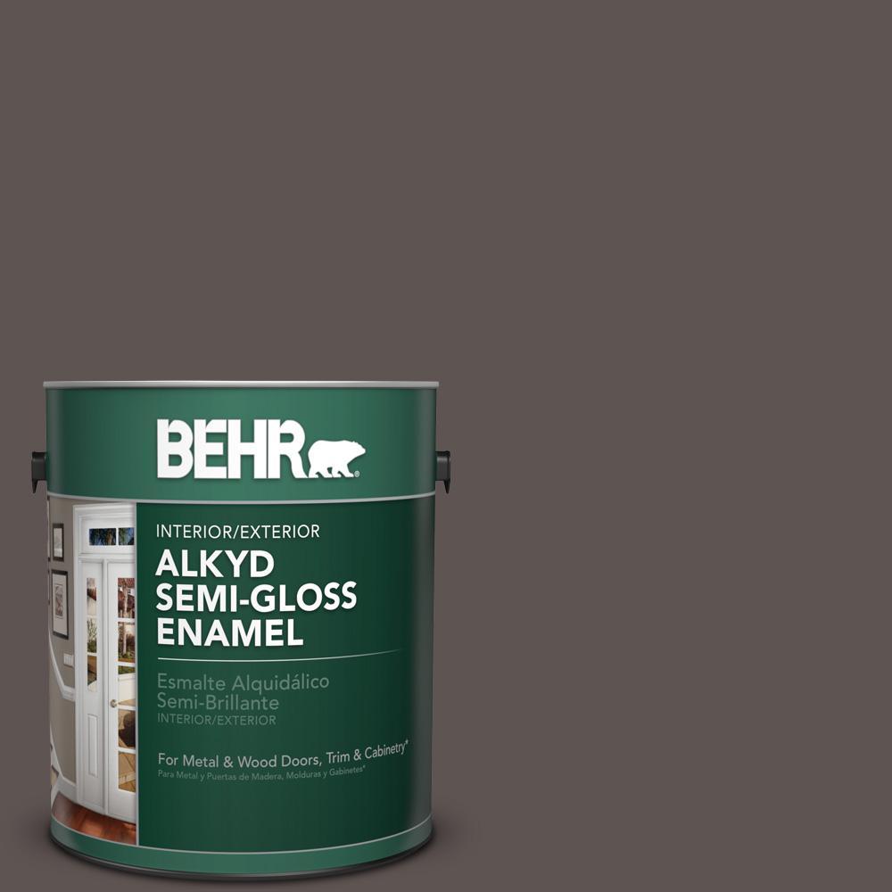 1 gal. #N140-7 Timber Brown Semi-Gloss Enamel Alkyd Interior/Exterior Paint