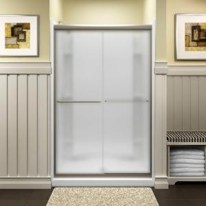 Sterling Finesse 47-5/8 inch x 70-1/16 inch Semi-Frameless Sliding Shower Door in Frosted Nickel with Handle by STERLING