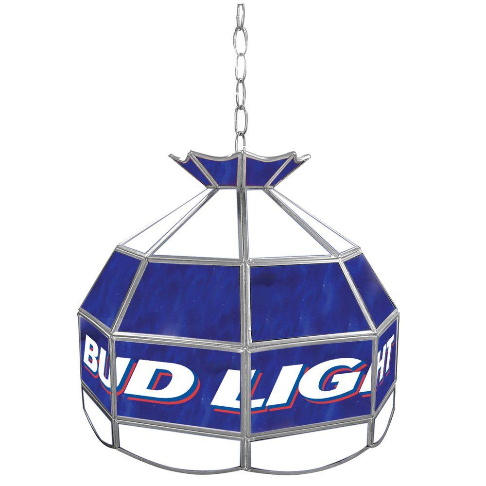 Trademark Global Bud Light 16 in. Stained Glass Billiard Hanging Tiffany Light-DISCONTINUED