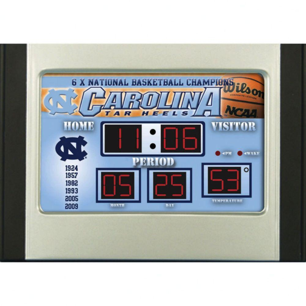 null University of North Carolina 6.5 in. x 9 in. Scoreboard Alarm Clock with Temperature