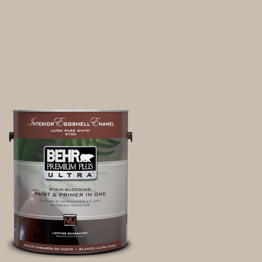 BEHR Premium Plus Ultra 1 gal. #UL130-15 Creamy Mushroom Eggshell Enamel Interior Paint and Primer in One