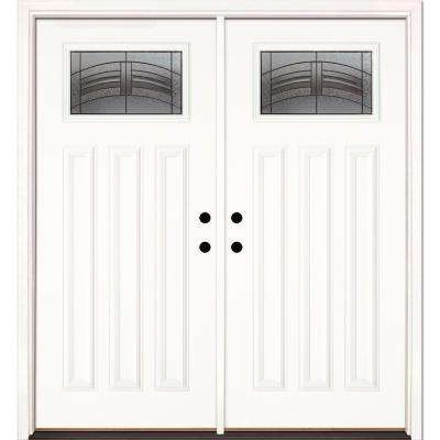 66 in. x 81.625 in. Rochester Patina Craftsman Unfinished Smooth Left-Hand Inswing Fiberglass Double Prehung Front Door