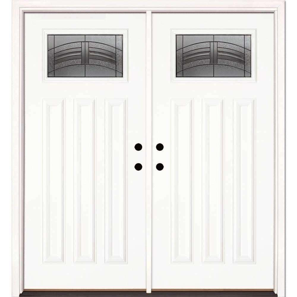 Feather River Doors 66 in. x 81.625 in. Rochester Patina Craftsman Unfinished Smooth Right-Hand Inswing Fiberglass Double Prehung Front Door