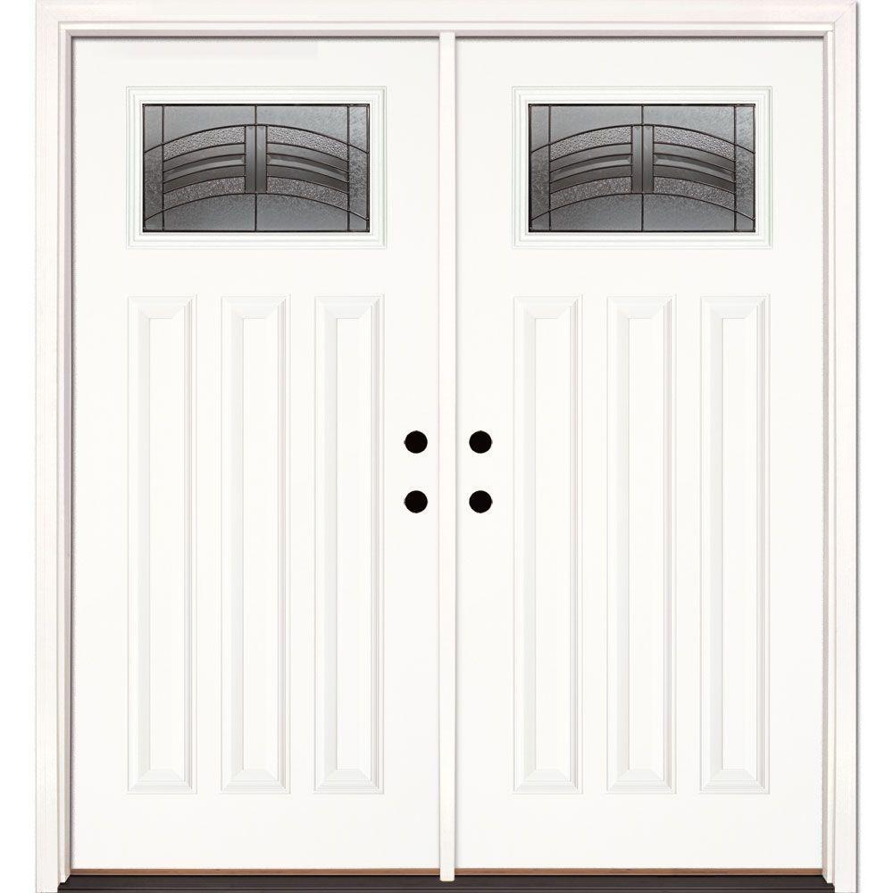 White Double Door 64 X 80 Front Doors Exterior Doors The Home Depot