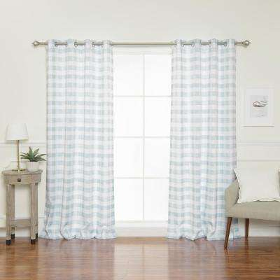 84 in. L Nordic Watercolor Check Grommet Curtains in Blue (2-Pack)