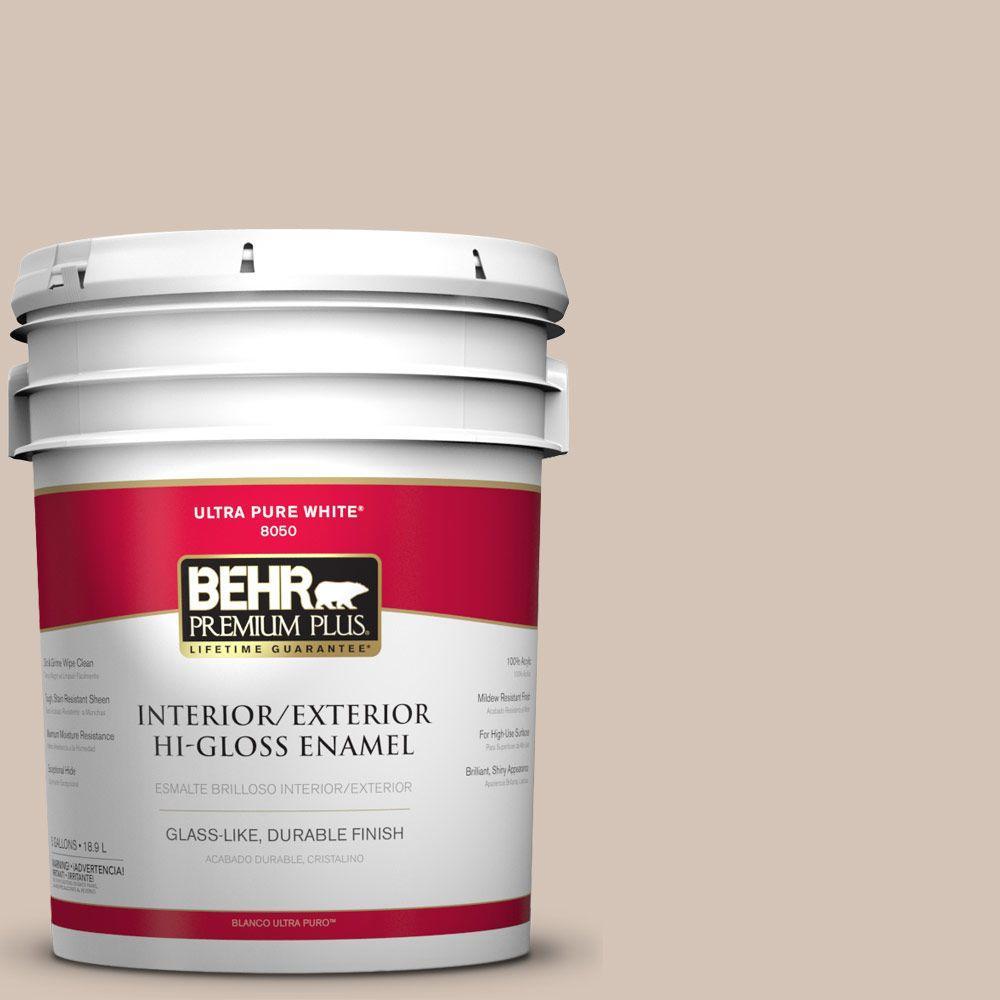 BEHR Premium Plus 5-gal. #BIC-02 Hazy Taupe Hi-Gloss Enamel Interior/Exterior Paint