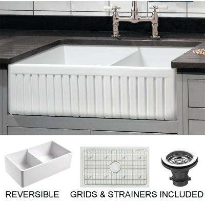 Sutton Place Farmhouse Fireclay 33 in. 55/45 Double Bowl Kitchen Sink with Grid with Grid and Strainer
