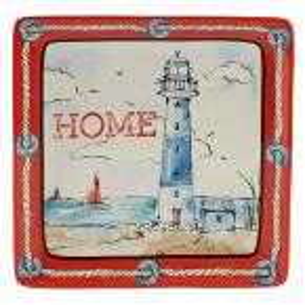 Coastal Life Multi-Colored 12.5 in. Ceramic Square Platter