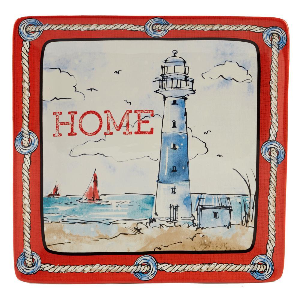 Certified International Coastal Life Multi-Colored 12.5 in. Ceramic Square