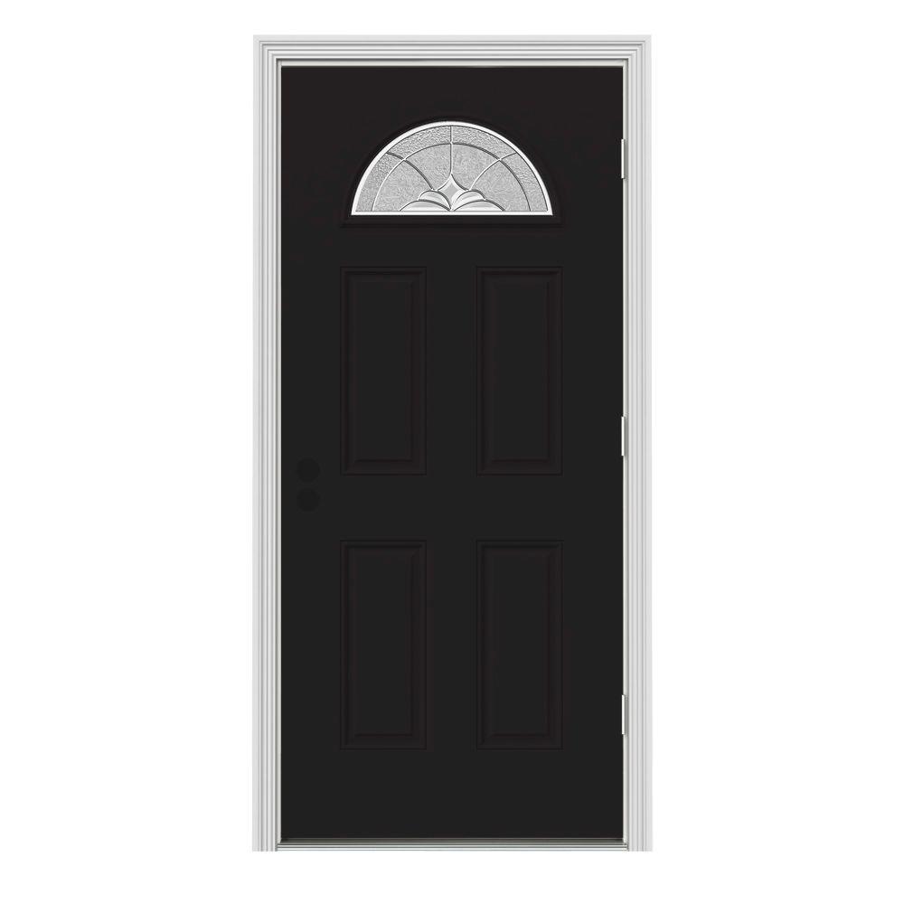 JELD-WEN 32 in. x 80 in. Fan Lite Langford Black w/ White Interior Steel Prehung Left-Hand Outswing Front Door w/Brickmould