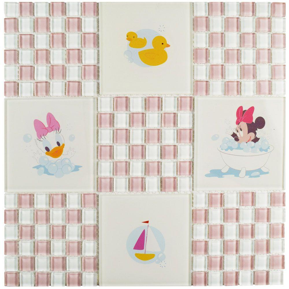 Disney Baby Pink 11-3/4 in. x 11-3/4 in. x 5 mm Glass Mosaic Tile