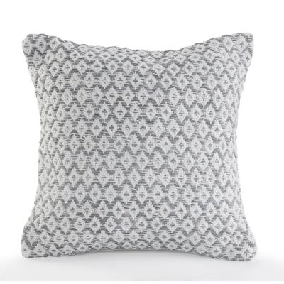 Adjoining Diamonds Gray and Ivory Geometric Hypoallergenic Polyester 18 in. x 18 in. Throw Pillow