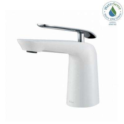 Seda Single Hole Single-Handle Basin Bathroom Faucet in Chrome and White