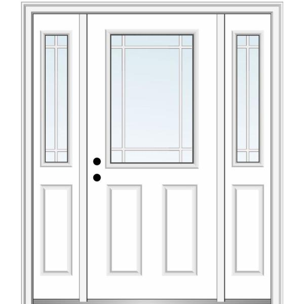 Mmi Door 68 5 In X 81 75 In Internal Grilles Right Hand 1 2 Lite Clear Primed Fiberglass Smooth Prehung Front Door W Sidelites Z029522r The Home Depot
