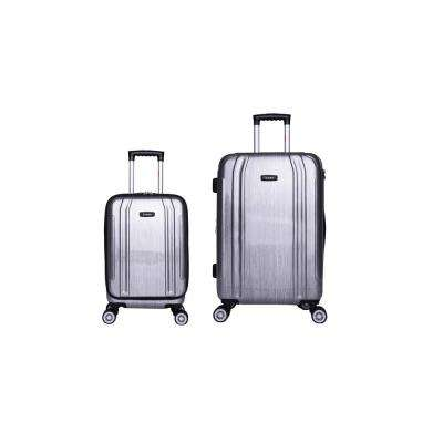 SouthWorld lightweight hardside spinner 2 piece Set 19 & 23-Silver Brush