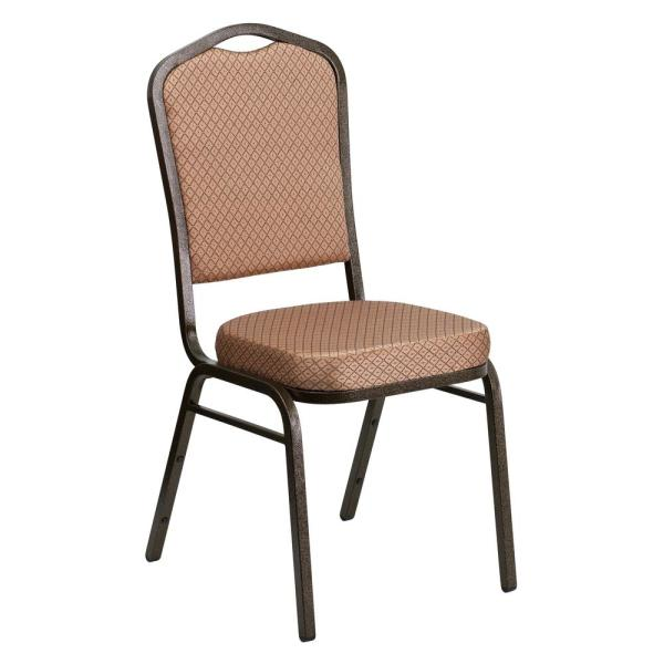 Flash Furniture Gold Diamond Patterned Fabric/Gold Vein Frame Stack Chair