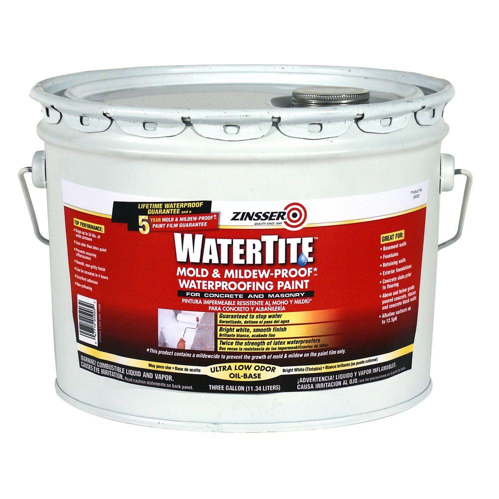Zinsser 3 Gal Watertite Mold And Mildew Proof White Oil Based Waterproofing Paint 5003 The